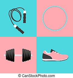 Sport Hula Hoop, Trainers, Dumbbells and Skipping Rope Icon...
