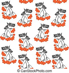 Seamless pattern background with rowanberrys and leafs EPS10...