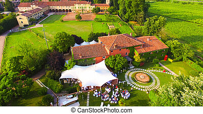 Aerial view of an old country house in Italy. - Aerial view...