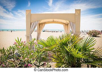 Tropical garden with gazebo on the beach - Tropical garden...