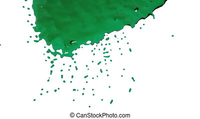 green paint flows down in slow motion