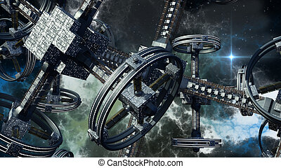 3D Illustration of alien spaceship - Detailed 3D rendering...
