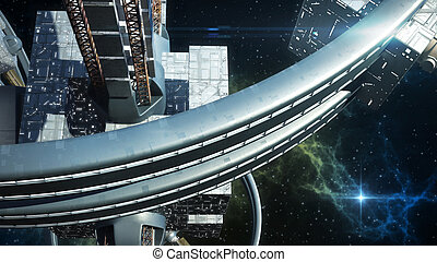 3D Illustration of alien spaceship probing Earth for games,...