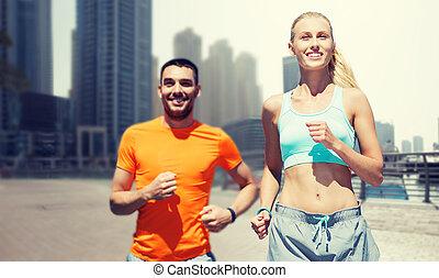 城市, 迪拜, 夫婦, 跑, 街道, 背景, 在上方