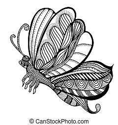 butterfly sketch vector - butterfly sketch. Hand drawn...