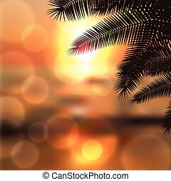 Sea sunset with palmtree leaves and light on lens EPS10...
