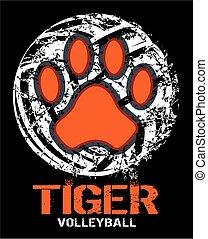 tiger volleyball - distressed tiger volleyball team design...
