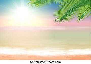 Beach and tropical sea with palmtree leaves. EPS10 vector.