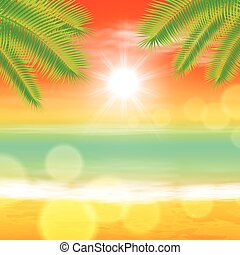 Sea sunset with palmtree leaves and light on lens. EPS10...