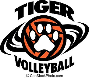tiger volleyball team design with paw print for school,...