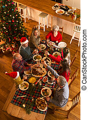 Christmas Dinner - Shot from above of a family sat down to...
