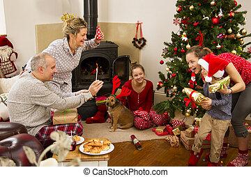 Family Christmas Morning - Family enjoying their Christmas...