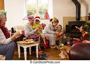 Family Christmas Morning - Family enjoying Christmas morning...