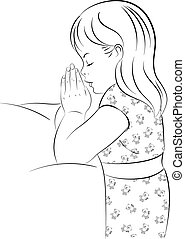Praying Girl Kneeling by Bed - Vector Illustration of a...