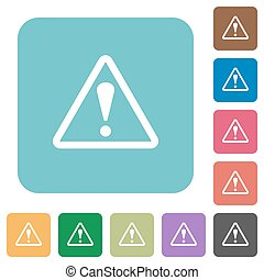 Flat warning sign icons on rounded square color backgrounds