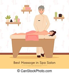 Beauty Salon Spa People Illustration - Woman getting best...
