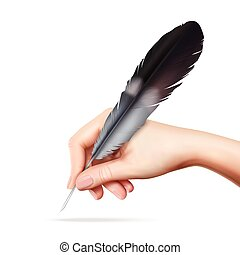 Feather In Hand - Big feather for writing in hand on white...