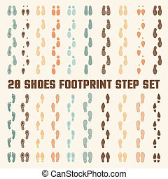 Shoes Footprints Colorful Tracks Set - Various fashion style...