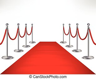 Red Carpet Illustration - Red event carpet and silvery...