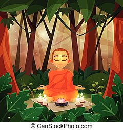 Buddha Flat Illustration - Color flat poster depicting...