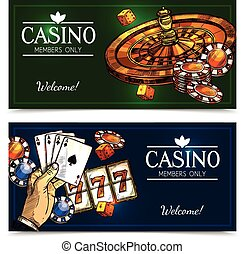 Sketch Casino Horizontal Banners - Colorful sketch casino...