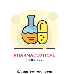 Pharmaceutical industry concept isolated on white. Vector...