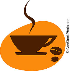 cup of coffee with coffee bean on orange background