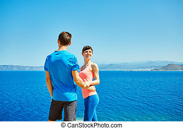 happiness couple under blue sky