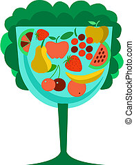 Different types of delicious fruits combined in tree shape