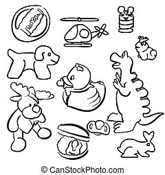 Baby Toys Outline Sketched Doodles