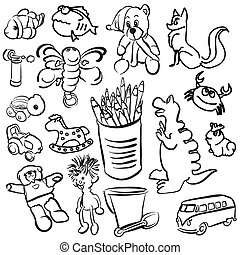 Big Set of Sketched Kids Toys, Vector Outline Toon Artwork