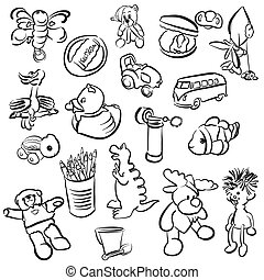 Set of Outlined Baby Doodles