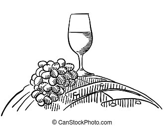 Vineyard - Vector Sketched Outline Artwork