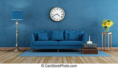 Retro blue living room