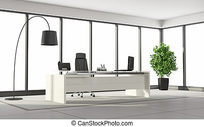 Black and white contemporary office