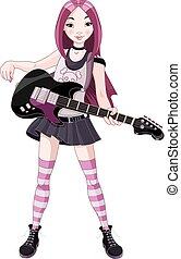 Rock Star Girl Playing Guitar