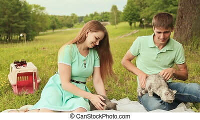 Guy and girl in a meadow with Scottish Fold and gray British cats.