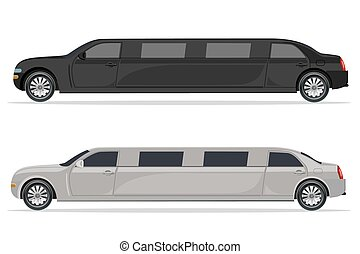 white and black limousine, design element, flat, vector...