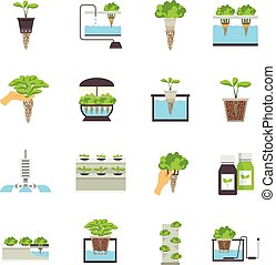 Hydroponic Flat Icons - Set of color flat icons depicting...