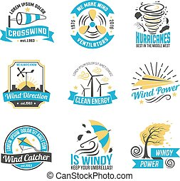 Wind Energy Power Flat Emblems Collection - Wind energy...
