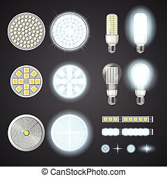Led Lamps And Lights Effects Set - Turned on and off led...