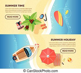 Beach Vacation Top View 2 Banners - Summer holiday tropical...