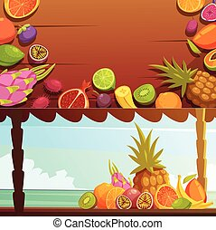 Tropical Island Fruit Banners Set - Tropical island summer...