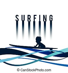 child surfing icon in blue color illustration