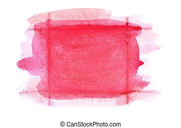 Retângulo, vermelho, aquarela, Quadro