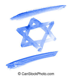 Flag of Israel - Watercolor flag of Israel