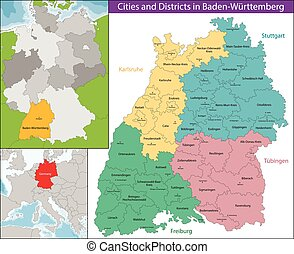 Map of Baden-Wurttemberg - Baden-Wurttemberg is a state in...