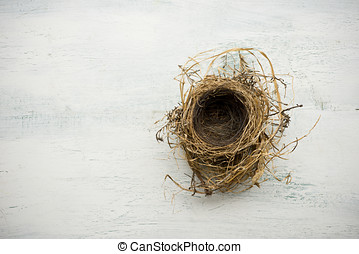 Bird nest - Empty bird nest on white washed wood surface