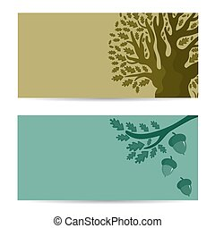 Set of banners with oak tree and acorns. Vector illustration