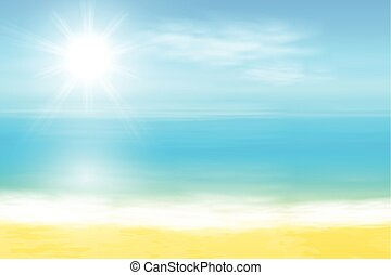 Beach and tropical sea with bright sun